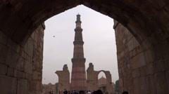 Qutub Minar, UNESCO World Heritage Site3 Stock Footage