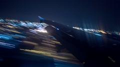 Plane Landing Wing View 1 Stock Footage