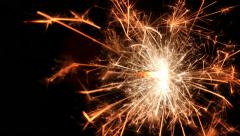 Closeup Fuse/Sparkler Spectacularly Burning/Sizzling Across Screen Stock Footage
