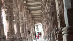 Stone pillars at the courtyard of Qutub Complex2 Stock Footage