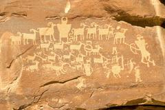 Hunter's Panel - Indian Petroglyph located in Nine Mile Canyon i Stock Photos