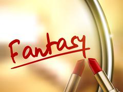 fantasy word written by red lipstick - stock illustration