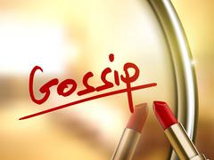 gossip word written by red lipstick - stock illustration