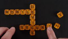 Letter Blocks Spell Mobile Device Security Stock Footage