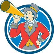 Circus Ringmaster Bullhorn Circle Cartoon Piirros