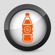 Vector orange and gray elegant glossy icon. - stock illustration