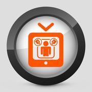 Stock Illustration of Vector orange and gray elegant glossy icon.