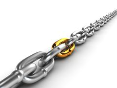 Chrome chain with a gold link - stock illustration