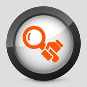 Stock Illustration of Vector orange and gray elegant glossy icon.
