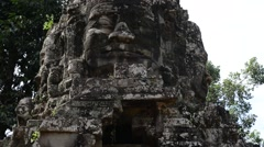 Cambodia 1080p Siem Reap Temple Gate Zoom Out Real Time - stock footage