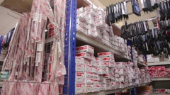 Warehouse Auto store auto parts on the shelves Stock Footage
