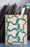 Die cut mold wooden boards cutter inside office Stock Photos