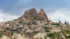 Timelapse view (zoom in) of Uchisar Castle cave houses. Cappadocia, Turkey. Stock Footage