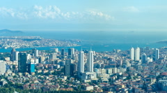 Timelapse aerial view to Istanbul and navigation on Bosphorus Stock Footage