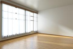 Empty room with parquet floor and window diagonal view Stock Illustration