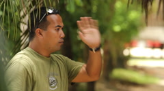 Man Talking on the Micronesian island of Pohnpei Stock Footage