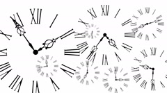 Animated Clocks Time Lapse On White Background Stock Footage