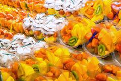 Different fruit salads for sale Stock Photos