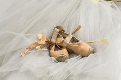 Tutu with ballet shoes - stock photo