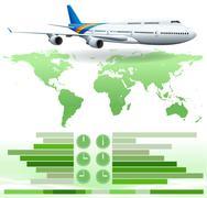 An infochart showing a plane - stock illustration