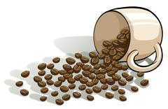 A mug and the spilled beans Stock Illustration