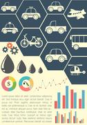A graphical model showing the means of transportation - stock illustration