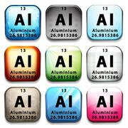 An icon showing the chemical Aluminium - stock illustration