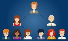 Networks of different individuals - stock illustration