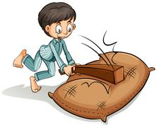 A boy hitting the sack Stock Illustration