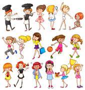 Different activities of girls Stock Illustration