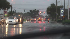 Street And Flooded Intersection On Rainy Night Stock Footage