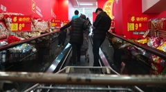Elevator WAL-MART supermarket Stock Footage