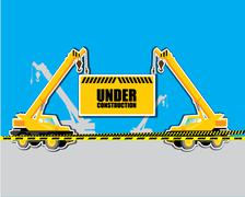 Crane with Under construction Stock Illustration