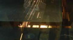 CNC laser cutting machine cut metal sheet, sparks Stock Footage