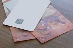 Credit or Debit Card on Euro Notes Stock Photos