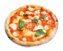 Pizza Margherita on white background - stock photo