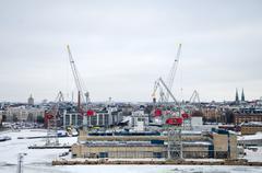 Panoramic views of the shipyard. Stock Photos