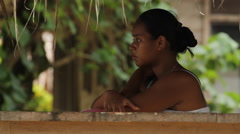 Local Girl on the Micronesian island of Pohnpei Stock Footage