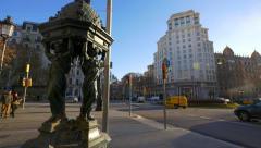 Barcelona  street  Fountain Stock Footage
