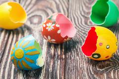 shells of easter eggs - stock photo