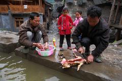 Rural men Asians gutting dog in the presence of children. Stock Photos