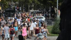Barcelona Streets - La Rambla - stock footage