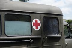 Close up on military medic truck Stock Photos