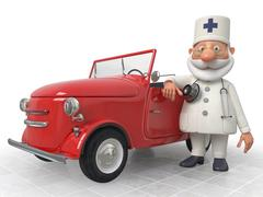 The 3D Doctor costs near car Stock Illustration