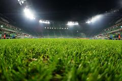Stadium, close up on grass Stock Photos