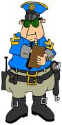 Stock Illustration of Cop writing a ticket