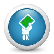 Vector blue glossy icon. - stock illustration