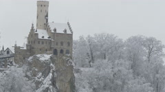 The Castle Lichtenstein in Germany at winter Stock Footage