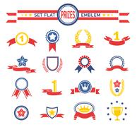 labels awards medals ribbon and badge collection - stock illustration