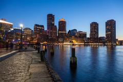 Boston skyline by night - Massachusetts - USA -- United States of America Stock Photos